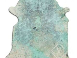 Cowhide Area Rugs ACID WASHED HAIR ON COWHI DISTRESSED lIME GREEN 3   5 M GRADE A size   32   45 sqft     Big Retail 454 49