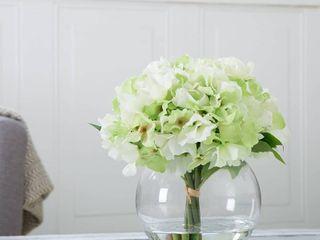 Pure Garden Hydrangea Floral Arrangement with Glass Vase   Green   set of 2