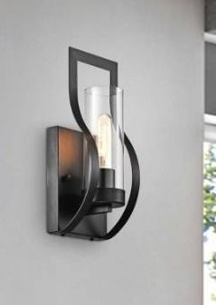 Anastasia 1 light Wall Sconce with Clear Glass Shade and Curved Frame