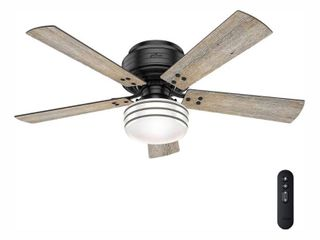 Hunter 52  Cedar Key Damp Rated Matte Black Ceiling Fan with light Kit and Remote