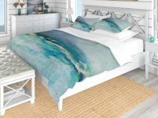 Designart  Indigo Abstract Watercolor Blue  Coastal Bedding Set   Duvet Cover   Shams Retail 149 99