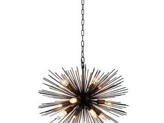 12 light Sputnik Chandelier in Black finish   24wx24lx15 80H in  Retail 206 45