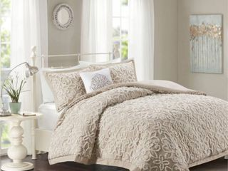 Full Queen 4pc Amber Tufted Cotton Comforter Set Taupe