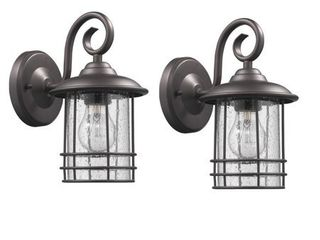 Chloe Transitional 1 light Oil Rubbed Bronze Outdoor Wall lantern 2 pack