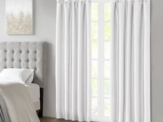 95 x50  lillian Twisted Tab lined light Filtering Curtain Panel White