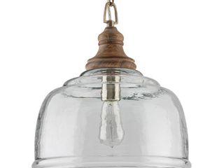 1 light Grey Wash Wood Clear Organic Rippled Glass Pendant Retail 176 00