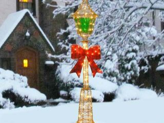 60 inch Gold Wire lamp Post with Green PVC Film and Red Bow and 85 Clear Indoor  Outdoor lights Retail 120 99