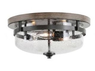 Vintage Full Flush Mount Ceiling lighting with Seeded Glass   W 13 5 x H 6 5    W 13 5 x H 6 5  Retail 174 49
