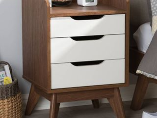 Brighton Mid   Century Modern Wood 3   Drawer Storage Nightstand   Brown   Baxton Studio