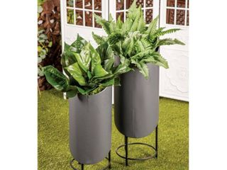 Set of 2 Industrial Cylindrical Dark Gray Planters by Studio 350 Retail 89 99