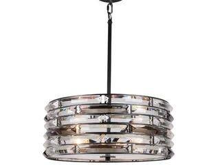 Woodbridge lighting 15920BlK 16 5  lana Crystal Accent Drum Pendant Retail 296 95