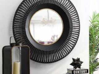 Metal 35 in Diameter Black Wall Mirror Black
