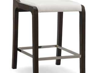Brown White Wood Faux leather Fastback Counter height Stool  Set of 2  Retail 214 99