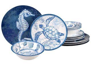 Certified International Oceanic 12 piece Melamine Dinnerware Set  Service for 4  Retail 95 00