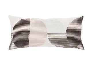 Nikki Chu Salamanca Pink Ivory Geometric Poly Throw Pillow 10X21 inch