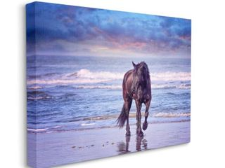 Stupell Industries Wild Horse on Beach Colorful Blue Sunset Canvas Wall Art Retail 106 49