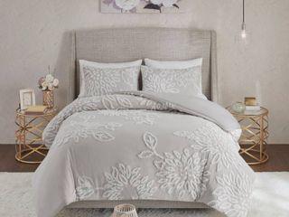 Madison Park Pansy Grey Tufted Cotton Chenille Floral Duvet Cover Set Retail 99 49