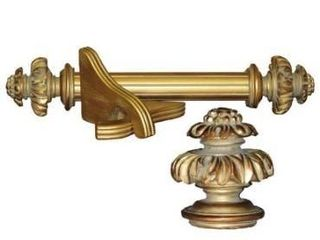 Royal Fancy Historical Gold Wood Curtain Rod Set Retail 121 49