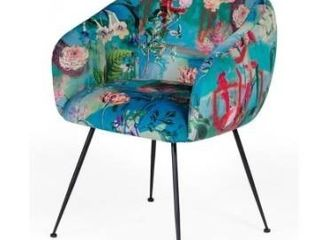 Modrest Roxann Contemporary Floral Velvet Dining Chair Retail 260 99