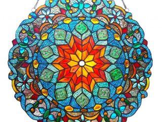 CHlOE lighting BlOSSOM Tiffany glass Round Window Panel 21  Wide