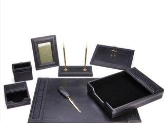 8 Piece Black Eco Friendly leather Desk Set  Retail 111 58
