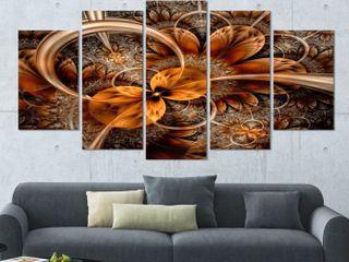 Designart Dark Orange Fractal Flower Wall Art