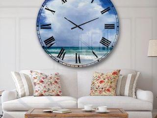 Oversized 37 5  Designart  Symmetrical beach  Wall Clock   Retail 175 00