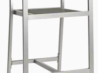 Shore Patio Aluminum Outdoor Bar Stool  Silver Gray  Support Unable to Be Inserted Due to Missing Insert