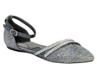 FUZZY Hallie Women Size 7 Wide Width Pointed Toe and Ankle Strap Dress Flats