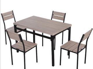 HomeCom Dining Table and 4 Chairs  Wood Slatted