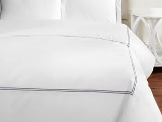 Home Sweet Home Collection 600 Thread Count Cotton 2 Stripe Embroidery Duvet King Set  Retail 161 49