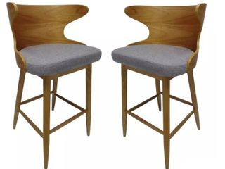 Kamryn Mid century Modern Upholstered Barstools  Set of 2  by Christopher Knight Home  Retail 222 99