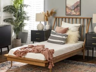 Caramel Twin Mid Century Solid Wood Spindle Bed  Retail 318 49