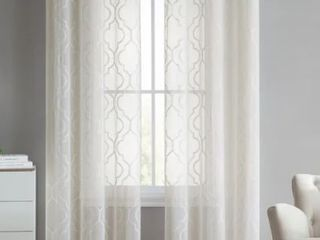 The Charlotte Emroidery Sheer Panel Pair  Ivory