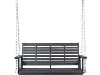 Tambora Outdoor Aacia Wood Porch Swing by Christopher Knight Home  Dark Gray  Retail 199 49