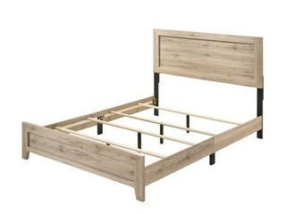 Acme Miquell Bed in Natural  Queen  Missing Hardware  Damage to Footboard