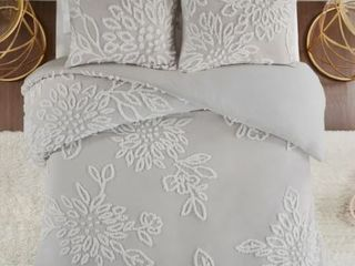 Madison Park Pansy Grey Tufted Cotton Chenille Floral Duvet Cover King Cal King Set  1 Coverlet  1 Duvet Cover  4 Shams Included  Retail 119 99