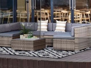 Incompete  Missing 2 Corner Chairs  Outsunny 7 piece Outdoor Patio Rattan Wicker Furniture Set  Hardware Missing