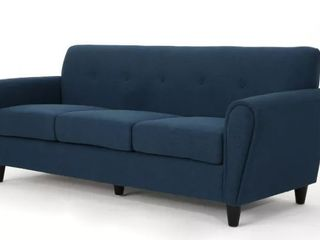 Incomplete  Emiliana Buttoned Fabric 3 seater Sofa by Christopher Knight Home  Missing Seat Cushions  See Pictures  Retail 573 49