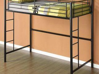 Twin Over Workstation Premium Metal loft Bed  Black
