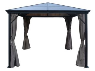 Aruba Outdoor 10 ft  Aluminum Gazebo with Hardtop by Christopher Knight Home  Missing Hardware  Retail 872 49