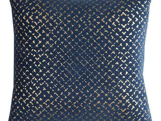 Rizzy Home Geometric Navy Cotton 20 inch Square Throw Pillow  Set of 3