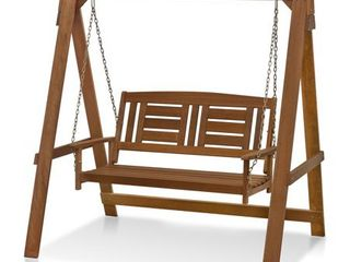 Furinno Tioman Hardwood Hanging Porch Swing with Stand in Teak Oil  Retail 303 98