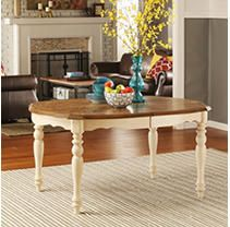 Table Top Only  Tribecca Home Shayne Country Antique Two Tone White Extending Dining Table