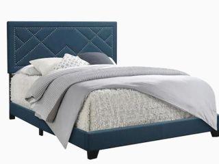 Acme Ishiko Panel Bed in Dark Teal Fabric  Queen