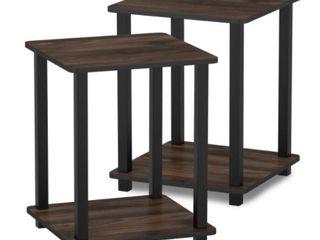 Simplistic End Table  Set of Two  Columbia Walnut Black
