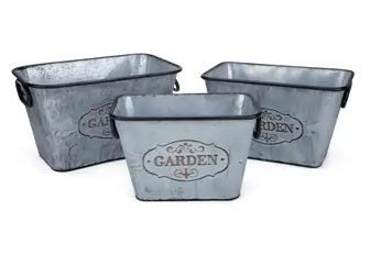 Metal Based Galvanized Rectangular Planters with Handles  Set of 3  Silver  Retail 86 49