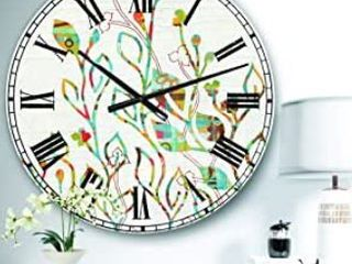 Designart  Rainbow Coloured Vines and Flowers  large Wall Clock  Retail 127 49