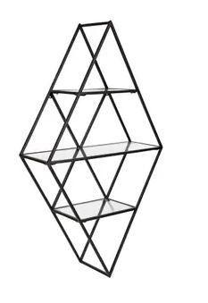 Kate and laurel Kailynn Geometric Metal and Glass Wall Shelf   18 5x32  Retail 129 99