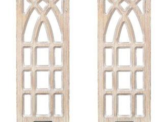 Wood Ornate Wall Sconces  19   Set of 2